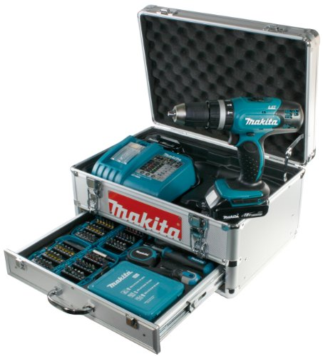 Makita Akku-Schlagbohrschrauber BHP453RHEX5 im Alukoffer inkl. 96-tlg. Zubehörset - 2 Akkus und Ladegerät