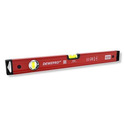 DEWEPRO® Profi Wasserwaage Aluminium - rot lackiert - Länge: 200cm 2m - Messtoleranz: 0,5mm/m - PN04 - Aluwasserwaage Aluminiumwasserwaage
