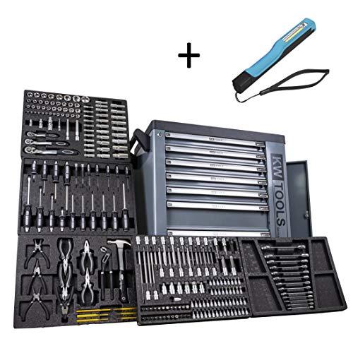 XXL Werkstattwagen Werkzeugwagen schwarz - 6 von 7 Schubladen gefüllt mit Werkzeug - rollbar