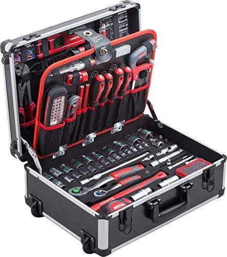 Meister Werkzeugtrolley 156-teilig ✓ Werkzeug-Set ✓ Mit Rollen ✓ Teleskophandgriff - Profi Werkzeugkoffer befüllt komplett mit Werkzeug