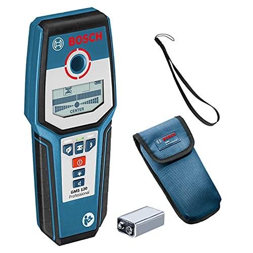 Bosch Professional Digitales Ortungsgerät GMS 120 (1 x 9 V Block Batterie, Schutztasche, max. Ortungstiefe Stahl/Kupfer/stromführende Leitungen: 120/80/50 mm)