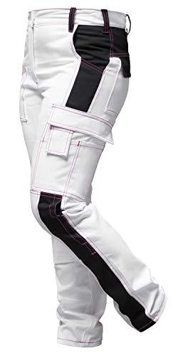 Damen Arbeitshose Weiß für Frauen Malerhose komplett Stretch mit Kniepolstertaschen - made in EU - Weiß-Schwarz