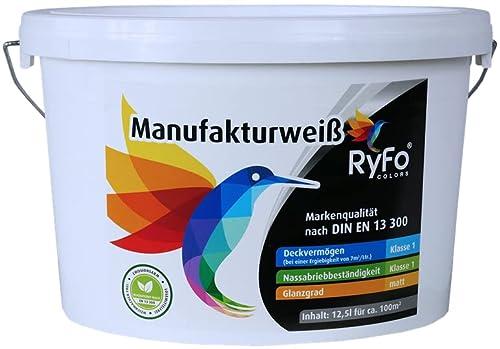 RyFo Colors Manufakturweiß 12,5l  - Innen-Dispersion, Innenfarbe weiß, hoher Weißgrad, Deckkraft und Nassabrieb Klasse 1