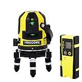 Firecore Kreuzlinienlaser und Plumb Punkt Laser Rotationslaser Grün Laser mit Laser-Empfänger und Transportkoffer (Akku Ladegerät,Arbeitsbereich mit Empfänger:50...