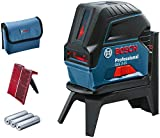 Bosch Professional Kreuzlinienlaser GCL 2-15 (roter Laser, Innenbereich, mit Lotpunkten, Arbeitsbereich: 15 m, 3x AA Batterien, Drehhalterung RM 1, Laserzieltafel,...