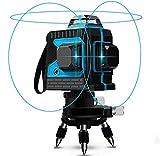 Kreuzlinienlaser 25M, Careslong 3 x 360 Blau Licht Laserpegel selbstausgleichende, 3D 12 Linien, IP 54 Selbstnivellierende Vertikale und Horizontale Linie (2pcs...