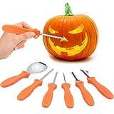 VZATT Halloween Kürbis Schnitzset, 6 Stück Edelstahl Kürbis Schnitzwerkzeuge, Kürbissen Schnitz-Werkzeug für Halloween Dekoration von Jack-o-Laternen, Sicher...