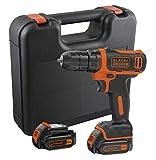 Black+Decker Kompakt-Bohrer (10,8V Li-Ion Akku-Bohrschrauber, LED-Arbeitslicht, Softgriff, 10 mm Schnelllspannbohrfutter, inklusive 2 Slidepack-Akkus, 400mA...