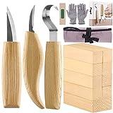 Fuyit Holz Schnitzwerkzeug Set-Beinhaltet 6 Teiliges Holz Schnitzmesser Set &10 Pcs Linde Holzblöcke für Löffel Schüssel Cup Edelstahl Schnitzwerkzeuge für...