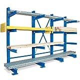 Kragarm-Komplettregal, 4 Ebenen, einseitige Ausführung, BxTxH 3100x740x2000 mm, Nutztiefe 600 mm, Achsmaß 1000 mm