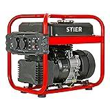 STIER Stromerzeuger SNS-200, Strom Generator, 10l Tankvolumen, 23 Kg, Stromerezuger leise mit 65 dB(A), 4-Takt Motor, Inverter Stromaggregat, mit Ölsensor, Laufzeit...