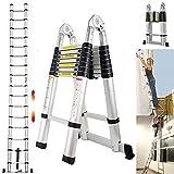 Teleskopleiter 5m mit Stabilisatorstange Aluleiter Klappleiter EN131-zertifizierte Klapp - und Anlegeleiter 16 Sprossen - 93cm bis 5m Anlegeleiter, 150 kg...