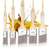 Emitever Lasurpinsel Set 5-teilig, Holzgriff, Profi Malerpinsel Set Premium Flachpinsel Lackpinsel Set Wandfarbe Lasurpinsel Set zum Holz Streichen...
