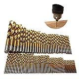 Exceed HSS-Bohrer Bit-Set, 99-teilig, titanbeschichteter Schnellarbeitsstahl, 1,5-10 mm, Mikroloch-Werkzeuge für Holz, Kunststoff und Aluminium