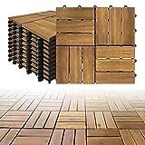 LZQ Holzfliesen aus Akazien Holz, 30 x 30cm 11er Set für 1 m², Garten-Fliese Bodenbelag mit Drainage, Klick-Fliesen für Garten Terrasse Balkon (Model B, 11 Stück...