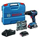 Bosch Professional 18V System Akku Schlagbohrschrauber GSB 18V-55 (max. Drehmoment 55 Nm, inkl. 2x2,0 Ah Akku + Ladegerät, 35tlg. Impact Zubehör Set, in L-Case) -...