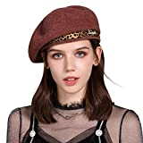 Jeff & Aimy Damen Winter 100% Wolle Barett Mütze Baskenmütze Schirmmütze Wollmütze Rot