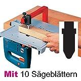 Neutechnik Präz.-Stichsägetisch für jede Stichsäge - Basisgerät + 10 extra langen Sägeblätter Typ BOSCH (T-Schaft)