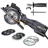 Handkreissäge mit Metallgriff, TACKLIFE 710W 3500U Mini Handkreissäge mit 6 Klingen, Laser und Parallelanschlag, Schnitttiefe-90°: 47mm / 45°: 35mm