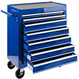 Arebos Werkstattwagen 7 Fächer | zentral abschließbar | inkl. Antirutschmatten | kugelgelagerte Schubladen | 2 Rollen mit Feststellbremse (blau)