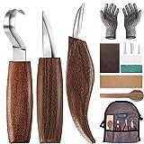 Holz-Schnitzwerkzeug Set, 10 Teiliges Holz Schnitzmesser mit Schleifsteine, Professional Holzschnitzerei Messer Werkzeuge ideales Schnitzmesser-Set für Anfänger...