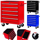 Masko® Werkstattwagen - 5 Schubladen, rot ✓ Abschließbar ✓ Massives Metall | Mobiler Werkzeug-Wagen ohne Werkzeug | Profi Werkstatt-Wagen unbestückt |...