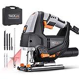 TACKLIFE 800W Elektro Stichsäge mit Laser & LED, 3000SPM, mit 6 Blättern, 6-Geschwindigkeitsvorwahl, 4-Stufen-Pendelung, Werkzeugloser Sägeblattwechsel, im...