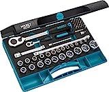 Hazet, Hergestellt in Deutschland Steckschlüsselsatz (1/4'-und 1/2'-Umschaltknarre, verschiedene Bits und Steckschlüssel, Verlängerungen, 47-teilig, Made in...