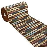 emmevi Teppich für Küche, rutschfest, Eingang, gesäumt, Stil Bambusparkett, Modell Fakiro Größe 40, 57 x 240 cm, mehrfarbig